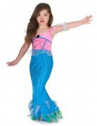 Costume da sirena di colore rosa e azzurro per bambina