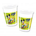8 bicchieri di plastica bianchi e verdi Mickey Foot™