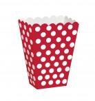 Lotto di 8 scatole per popcorn rosse a pois bianchi