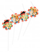 6 cannucce in plastica raffiguranti Jake e l'Isola dei Pirati