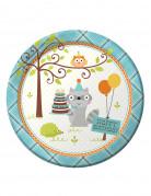 8 piatti di carta con stampa degli animali del bosco 21,5 cm