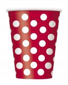 Confezione 6 bicchieri di carta rossi a pois