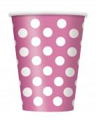 6 bicchieri rosa a pois bianchi