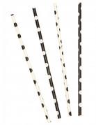 10 cannucce a pois bianchi e neri da 21 cm