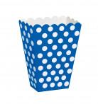 8 scatole da pop corn blu a pois bianchi