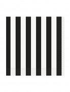 16 piccoli tovaglioli di carta a righe bianche e nere 25 x 25 cm