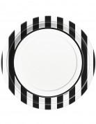 8 piatti bianchi a righe nere 22 cm