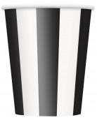 6 Bicchieri di cartone a strisce nere e bianche