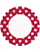 8 piatti rossi a pois bianchi 22 cm