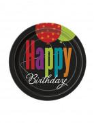 8 piattini di carta Happy Birthday 18 cm