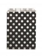 24 sacchetti di carta neri a pois bianchi di 13 x 18 cm