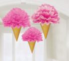 3 decorazioni da appendere a forma di cono gelato 30 cm