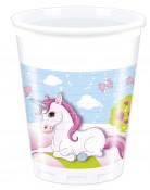 8 bicchieri di plastica con soggetto Unicorno 200 ml