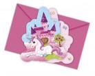 6 biglietti d'invito Unicorno