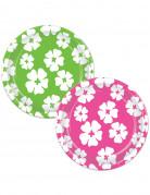 8 piatti di carta con Hibiscus da 23 cm