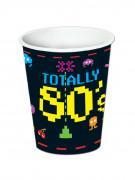 8 bicchieri in carta Anni '80 da 266 ml