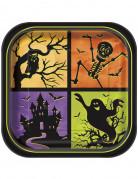 8 piatti quadrati in cartone per Halloween