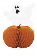Decorazione per Halloween: centrotavola di carta con zucca e fantasma