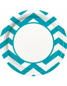8 Piatti di carta turchese caraibico motivi a zig-zag 22 cm