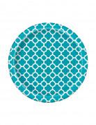 8 piattini di carta con motivo turchese 17 cm