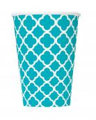 6 bicchieri di carta con motivi grafici turchesi 355 ml