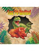 8 carte per invito festa di compleanno dinosauri