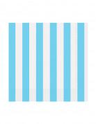 16 tovagliolini di carta a righe blu 25 x 25 cm