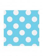16 tovagliolini di carta celesti a pois bianchi