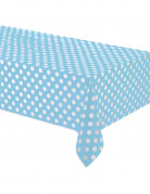 Tovaglia blu con pois bianchi di plastica 137 x 274 cm