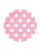 8 piattini di carta rosa a pois bianchi 17 cm