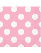 16 tovaglioli in carta rosa a pois bianchi 33 x 33 cm