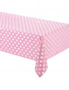 Tovaglia di plastica rosa a pois bianchi 137 cm x 274 cm