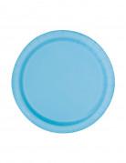 20 piattini di carta blu pastello 17 cm