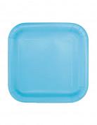16 piattini quadrati azzurri di cartone 17 cm