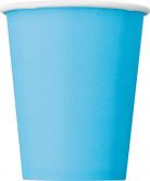 8 bicchieri in cartone blu pastello