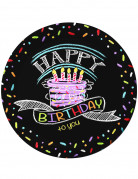 8 piattini di carta decorati con scritta Happy Birthday