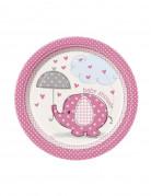 8 piattini di cartone Pink Elephant 18 cm