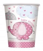 8 bicchieri con elefante rosa 250 ml