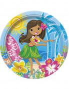8 piatti di carta stile hawaian party