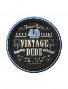 Confezione 8 piattini di carta 40 anni Vintage