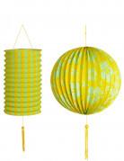 2 lanterne hawaiane di colore giallo e verde