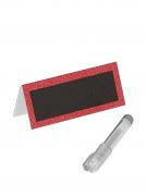 Segnaposto di colore rosso con paillettes e penna