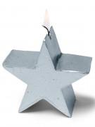 Candela a forma di stella color argento 7 cm
