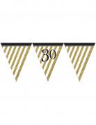 Festone a bandierine nero e oro per i 30 anni di 3,7 m