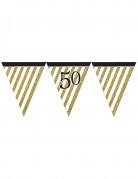 Ghirlanda nera e oro con bandierine 50 anni
