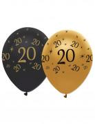 6 palloncini neri e oro con numero 20 anni