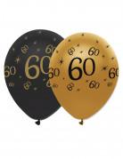 6 palloncini nero e oro per 60 anni