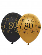 6 palloncini 80 anni di colore nero e oro