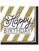 16 tovaglioli Happy birthday nero e oro
