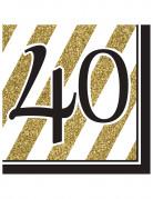 16 tovaglioli 40 anni nero e oro